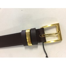 Brown Leather Belt with metal keeper