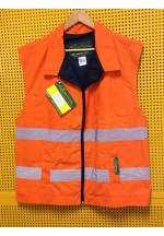 Work Wear Vest, LARGE, 8 pockets, water & grease repellant, hi-viz, unisex