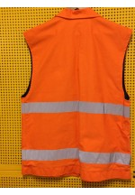 Work Wear Vest, LARGE TALL, 8 Pockets, water & grease repellent cotton, hi-viz, unisex