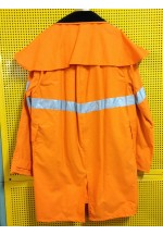 Work Wear Knee Length Coat, SMALL, water & grease repellent cotton, unisex, hi-viz